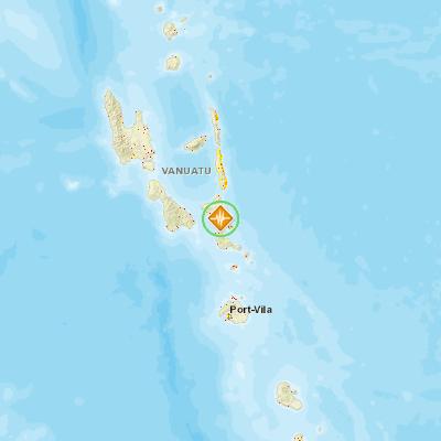 Earthquake 50 88km ESE of Lakatoro Vanuatu PDC Hazard