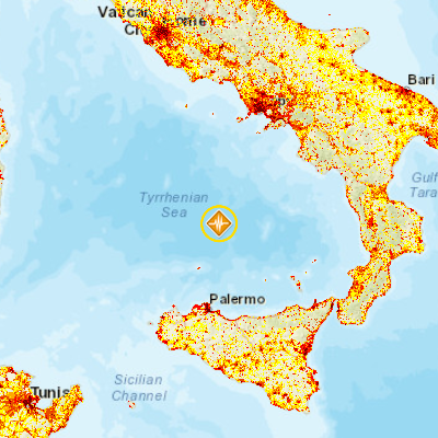 Earthquake 58 73km NNE of Ustica Italy PDC Hazard Information