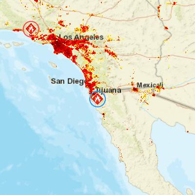 Wildfire SE of Tijuana Baja California Mexico PDC Hazard